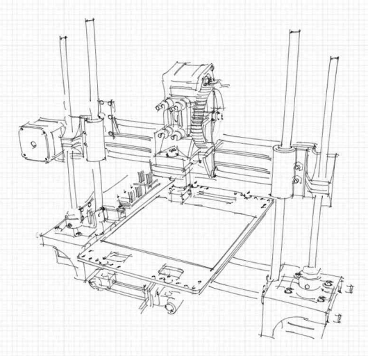 portabee 3d printer technical drawing