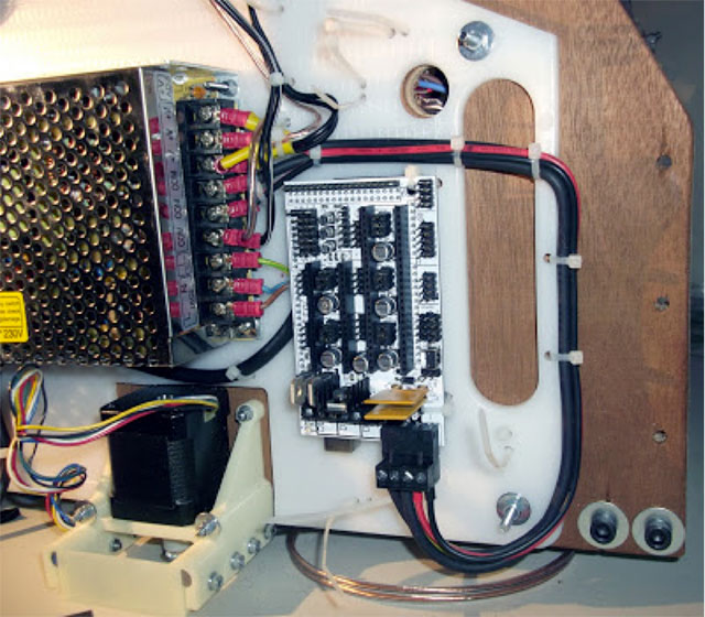 Rostock 3D printer - mounted electronics and power supply3