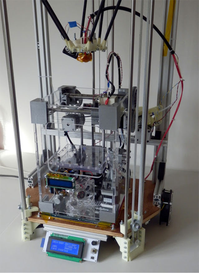 Rostock 3D printer - on a desk