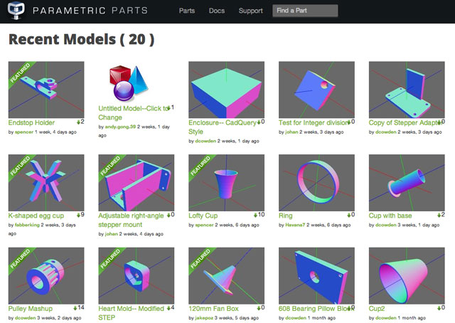 Parametric Parts Screenshot