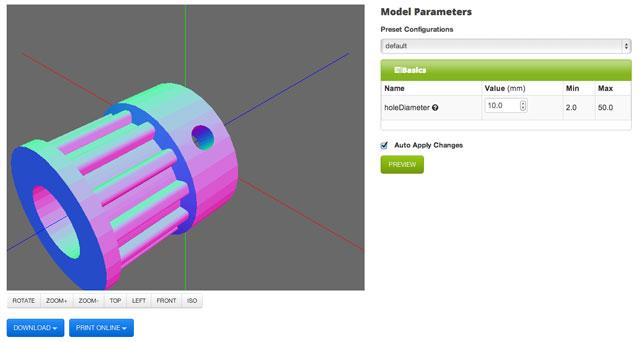Parametric Parts UI