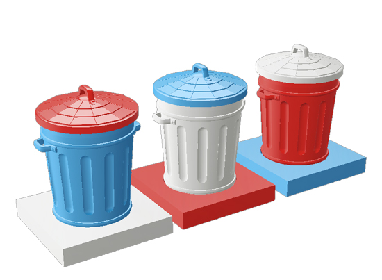Trash cans Andy Warhol 3DP