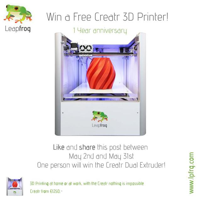 Creatr LeapFrog 3D Printer giveaway