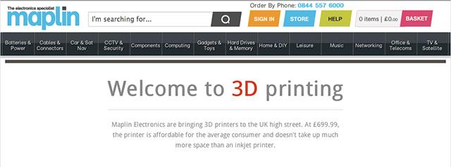 Maplin 3D Printing