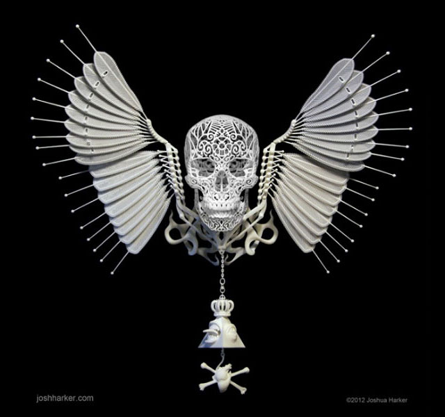 oshua Harker Skulls 3D-printed