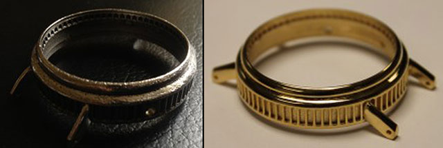 Hoptroff Watch dmls 3D Printed Gold comparison