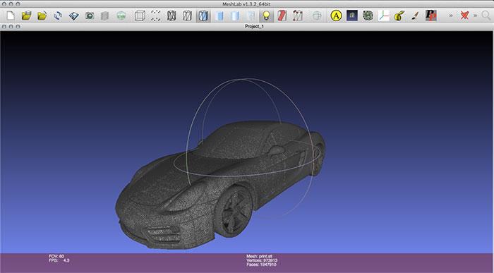 Cayman Porsche 3D model in Meshlab