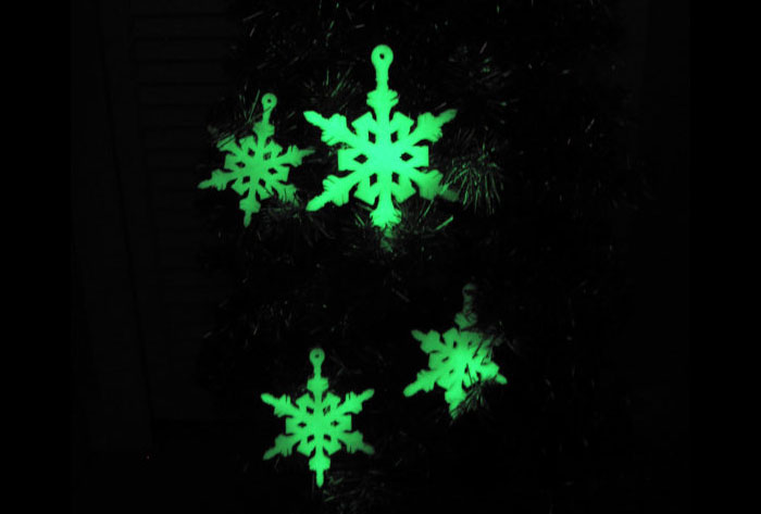 glow-in-dark snowflakes 3D Printed