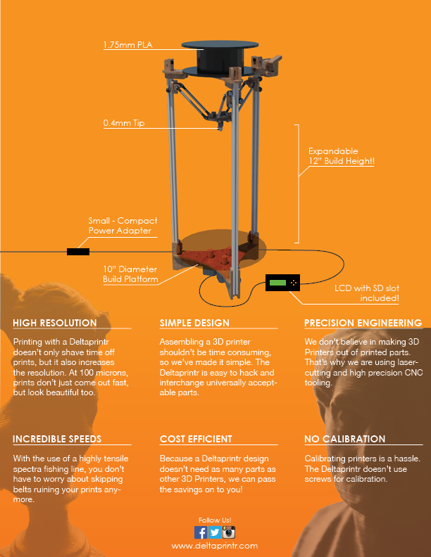 Deltaprintr 3D Printer Specs page