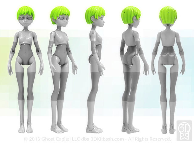 Quin Customizable 3D Printable Doll 180 degrees