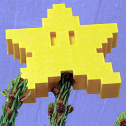 pixel tree topper star 3d model