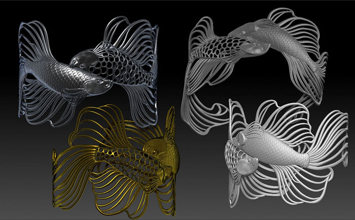 Fish Cuff Bracelets Paul Liaw Phothoshop 3D Design