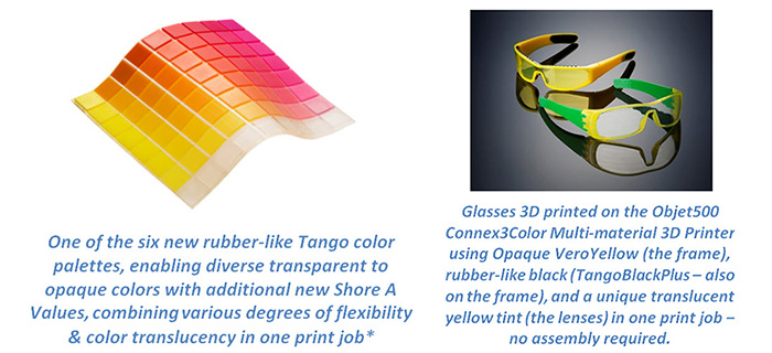 Rubber Like Tango Palette Full Color 3D Printing Objet500 Connex3 Color Multi material 3D Printer Stratasys