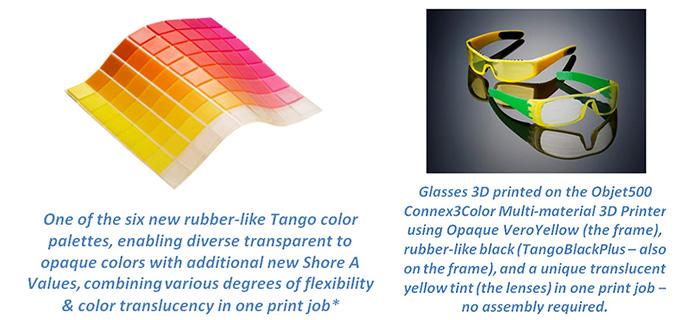 Rubber Like Tango Palette Full Color 3D Printing Objet500 Connex3 Color Multi material 3D Printer Stratasys