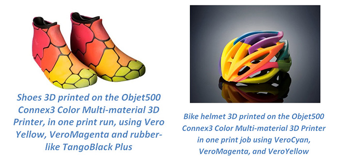 3D Printed Full Color Helmet Shoes Connex3 Machine Stratasys