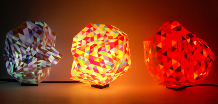 Color Dazzle colour 3D printed lamps by Corneel Cannaerts