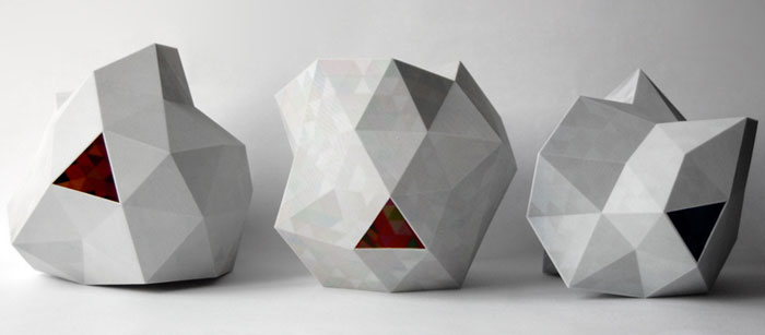 Grey Dazzle colour 3D printed lamps by Corneel Cannaerts