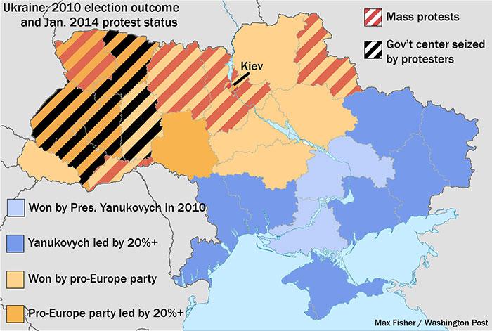 ukraine protests map