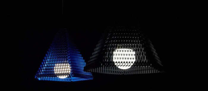 zoom 3d printed lampshade blue black