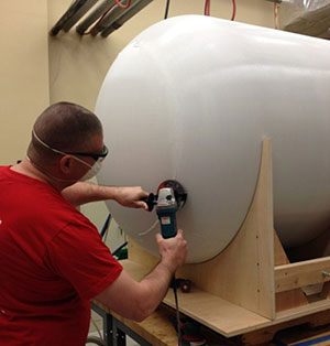 Bonding  Sanding larger tank