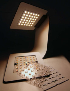 LUXeXcel 3D Printed Lens Array F-sign oneLED table luminaire