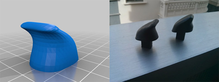 ford ka seat handle 3D printed comparison