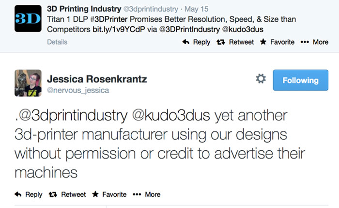 jessica nervous systems calls out Kudo3D for using her 3D printed designs