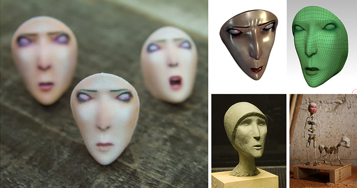 old woman 3 faces 3d printing