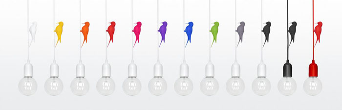 studio macura 3D printed bird lamp colors