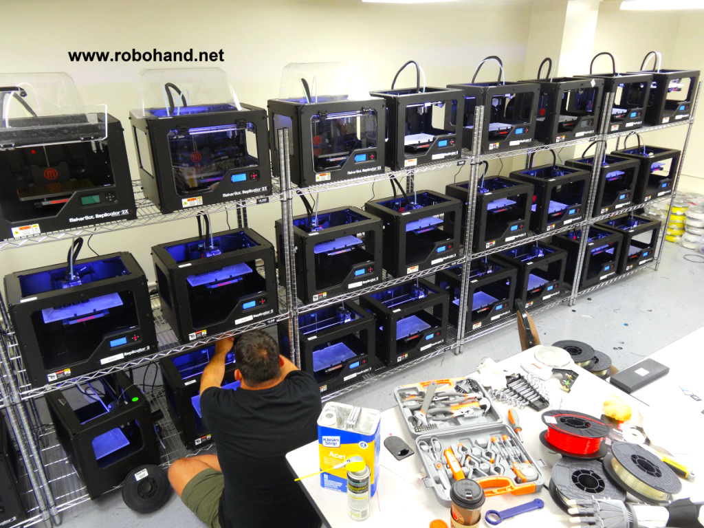 robohand 3D printer farm 3