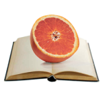 3D paper printed orange on open book