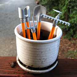 3D printed desktop gardening tools in pot