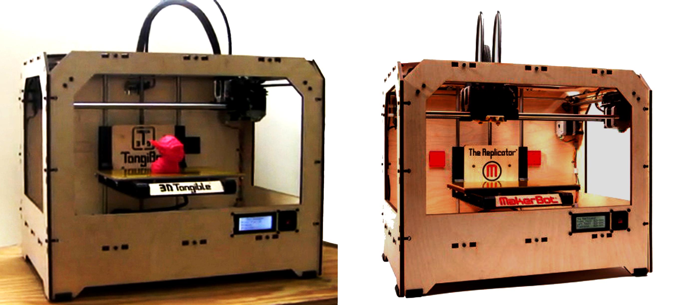 3dpi tangibot makerbot 3d printers side by side