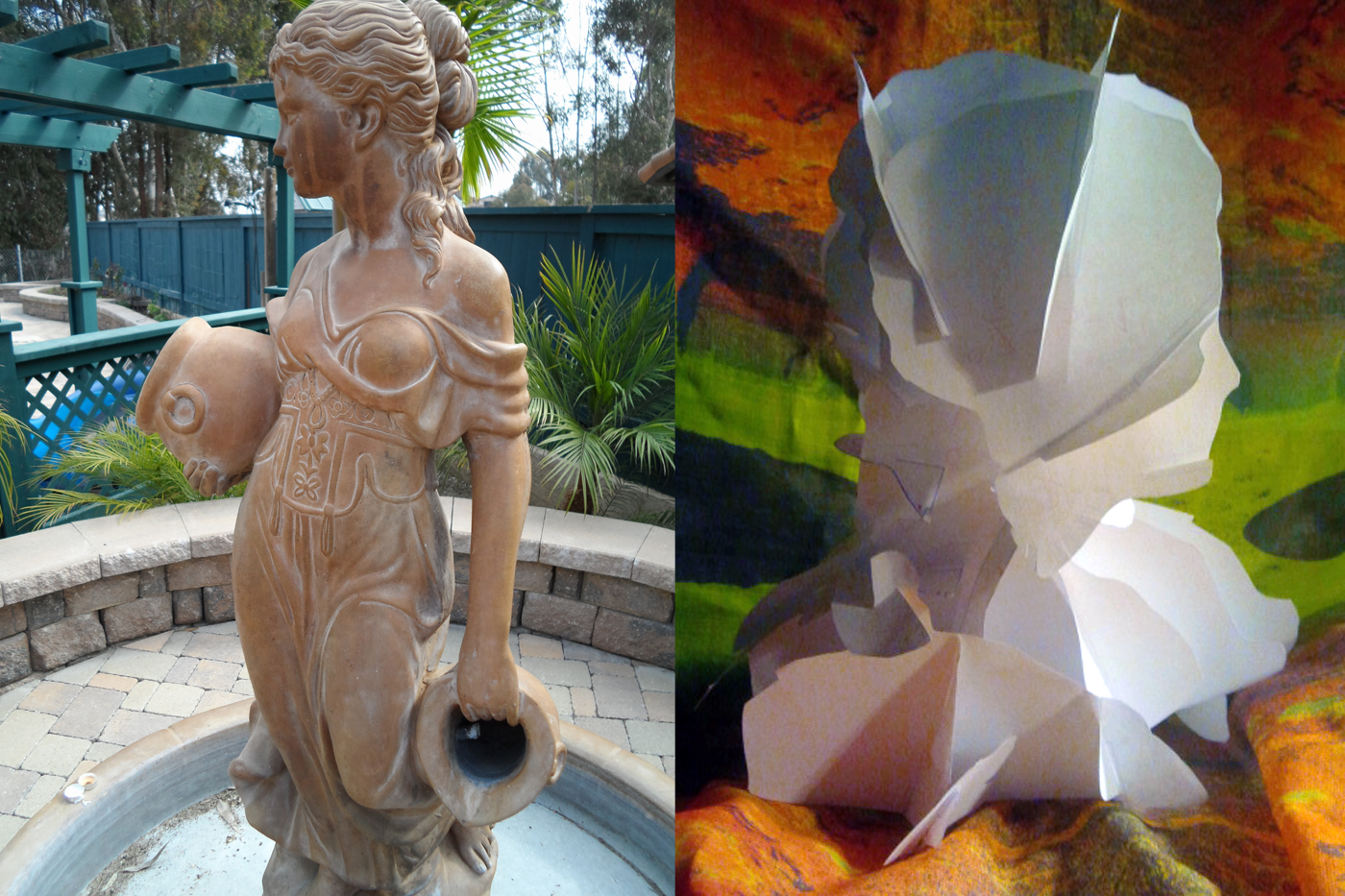 The fountain of Asgard next to paper model for 3D printing exhibition