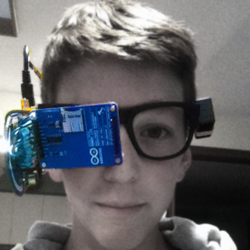 clay haight wearing his DIY Google Glass with 3D printed frames