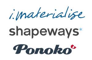 imaterialise ponoko shapeways 3d printing