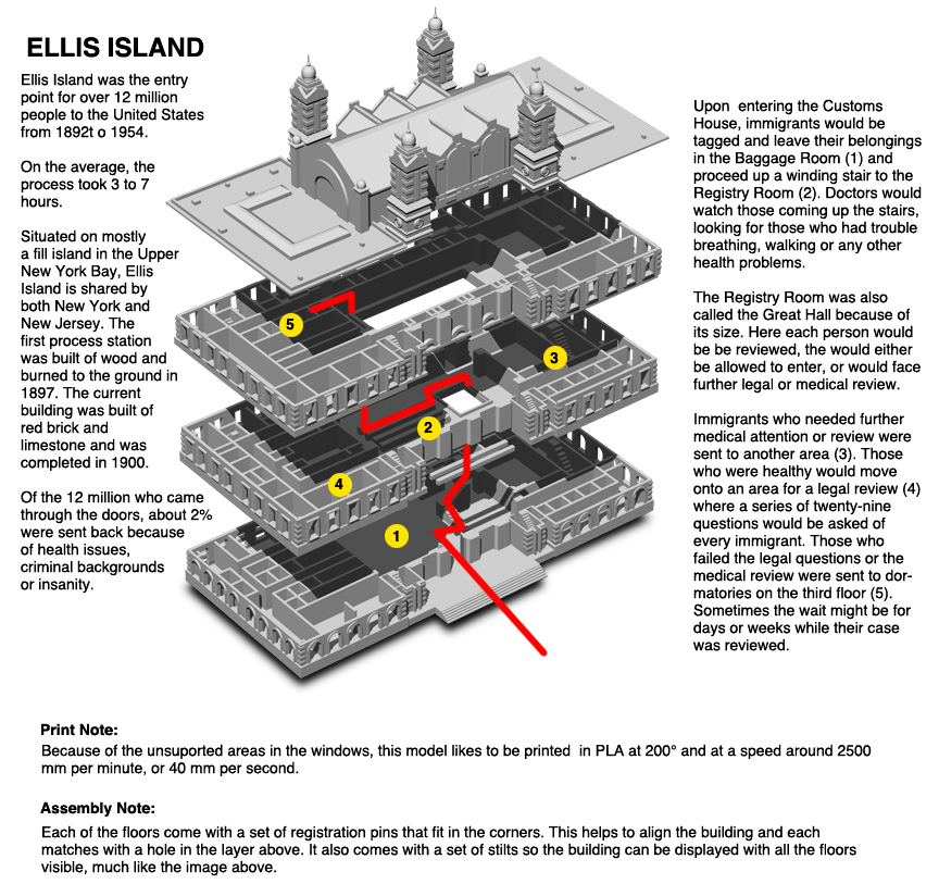 instructions for 3D printed Ellis Island Customs House by Don Foley via 3D Printing Industry