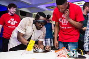 will.i.am with 3D printed instruments from Prince's Trust
