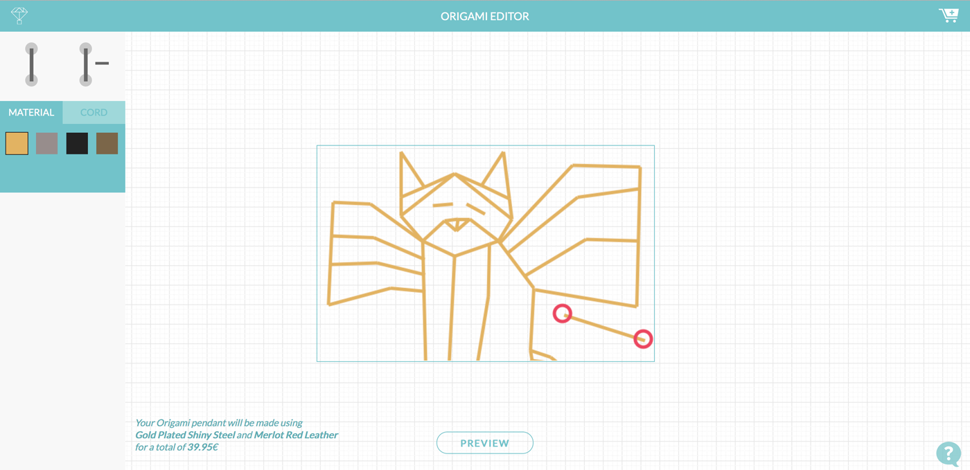 zazzy 3D printed origami cat editor