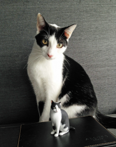 3d printed cat with real cat