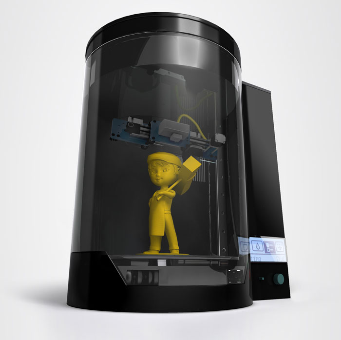 3d printer blacksmith mascot boy