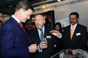 Rhydian_Pountney explains 3D printing to  uk deputy prime minister Nick Clegg