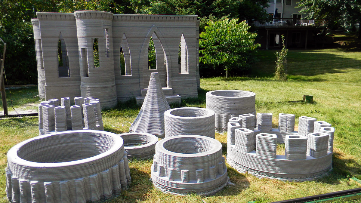 andrey rudenko 3D printed concrete castle pre assembly