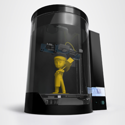 blacksmith genesis 3D printer and scanner with mascot