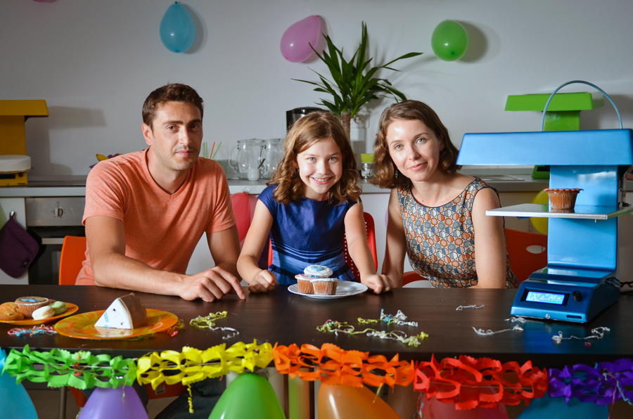 happy family with candy 3D printer