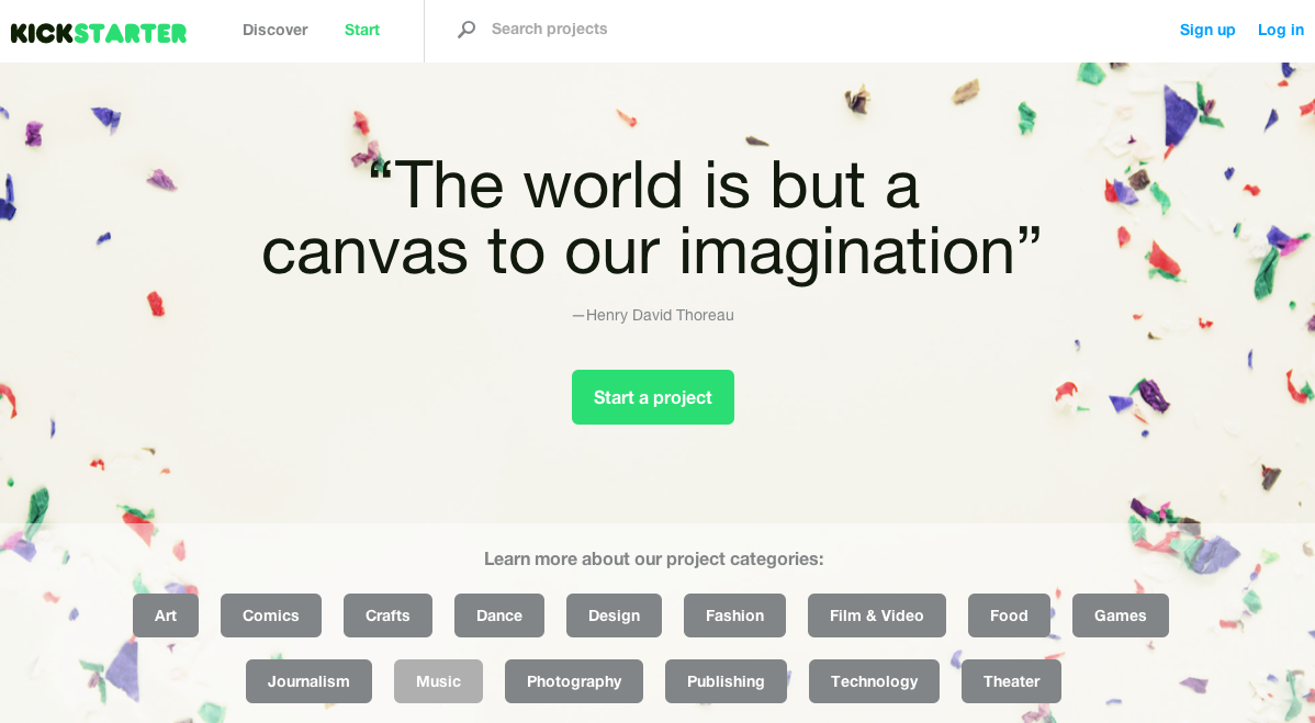 kickstarter home page 3D printing