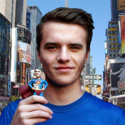man with 3d printed figure of himself