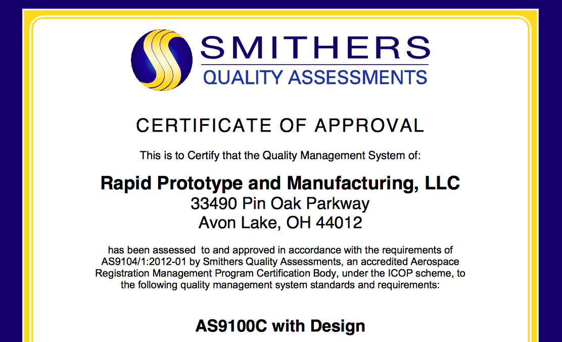 rp+m Is Taking Off with AS9100C - 3D Printing Industry