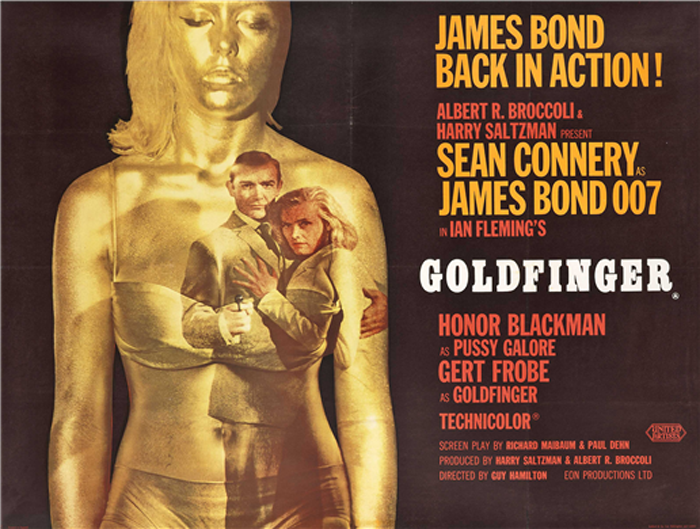 BRITISH QUAD CINEMA POSTER WITH A GOLDFINGER LP SIGNED BY DAME SHIRLEY ...