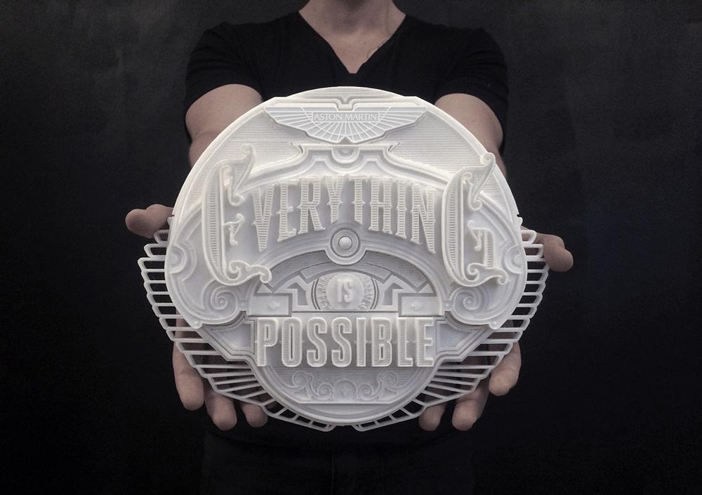 aston martin typeface 3d printing